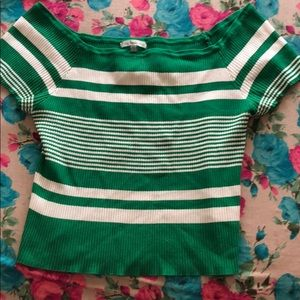 Green and white off the shoulder shirt